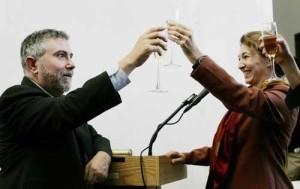 Paul Krugman celebrando su nominación como Premio Nobel de Economia 2008